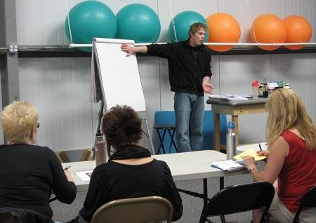 Luke giving nutrition lecture at Capital City Volleyball Club