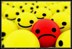 negative thinking sad face ball
