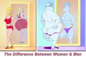 difference between women and men in the mirror posing