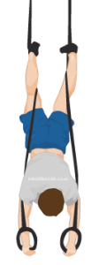 feet wrapped on straps handstand