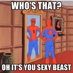 spiderman posing in mirror
