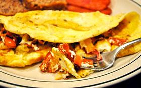 turkey apple goat cheese omelet
