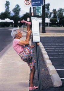 grandma splits on road sign